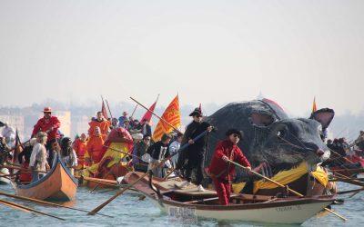 Venezia,{ today}, CARNEVALE 2019 - il corteo di barche che accompagna la
