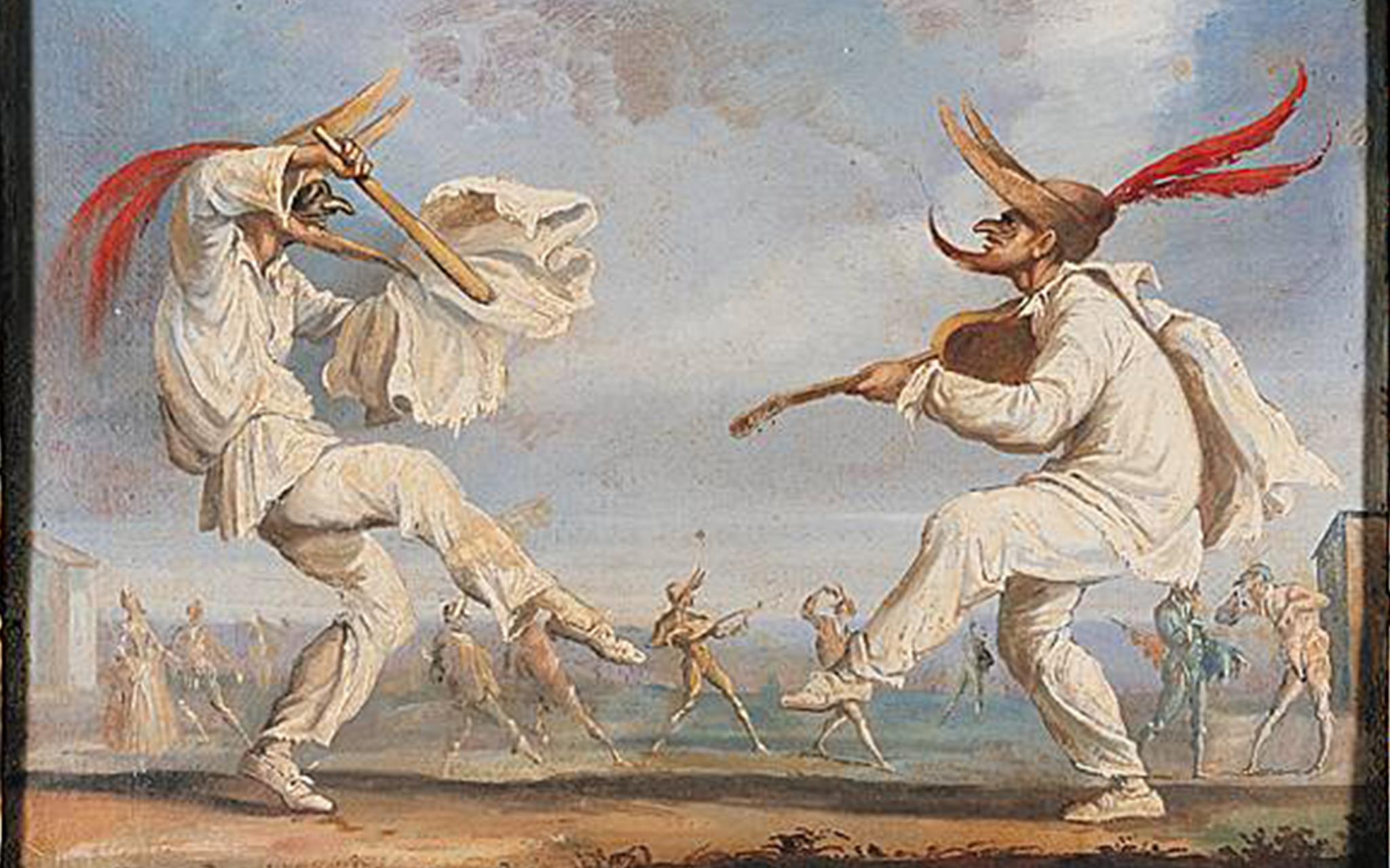 maschere commedia dell'arte due zanni callot